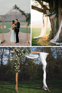Ditch the traditional and make a dramatic backdrop out of the natural elements by framing your at-home wedding in a simple, beautiful arbor.