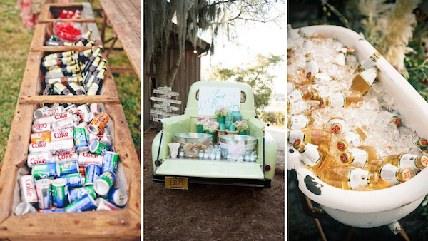 Treat your at-home wedding more like a garden party than a formal fete, and let your guests grab their drinks!