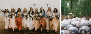 If rain makes an unexpected appearance at your at-home wedding, make sure your guests are ready with cover.