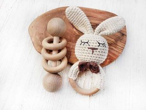 Baby Registry Must-Haves for the Sustainable Mom-To-Be | Wooden Rattle Set