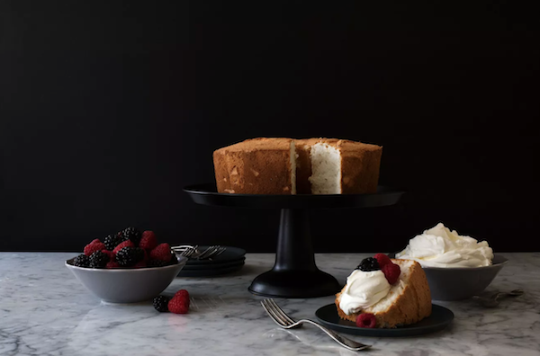 Perfectly Sliced Angel Food Cake & Glass Cake Stand
