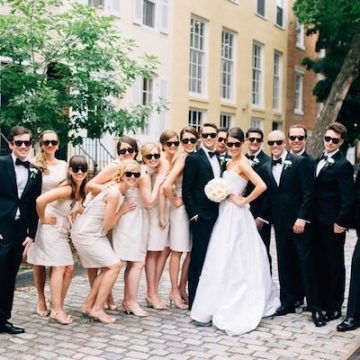 wedding party wearing ray bans