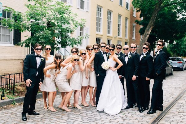 wedding party wearing ray-bans