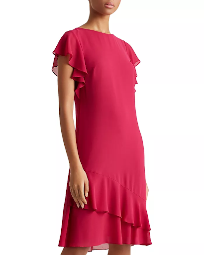 Mother of the Bride dress with pink ruffles