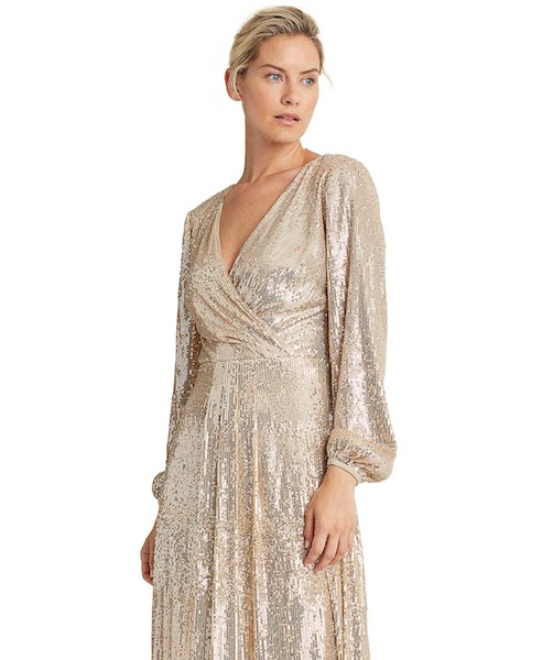 Mother of the Bride shimmering dress adorned with sequins