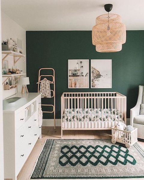 bold wall in gender neutral nursery