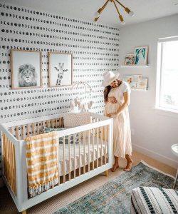 patterned wallpaper in nursery