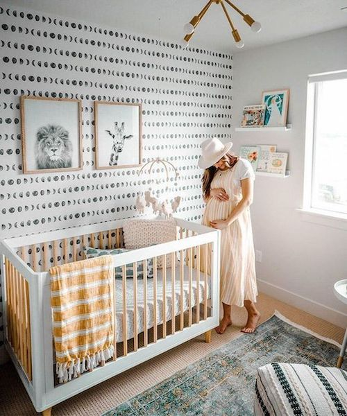 patterned wallpaper in nursery