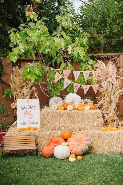 Cutest Pumpkin Baby Shower | Backyard Decor