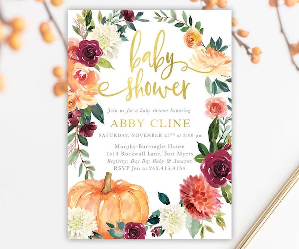 Fall Pumpkin Baby Shower Invites