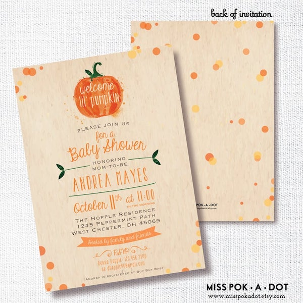 Pumpkin Themed Baby Shower Invites