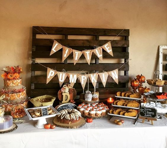 pumpkin baby shower spread