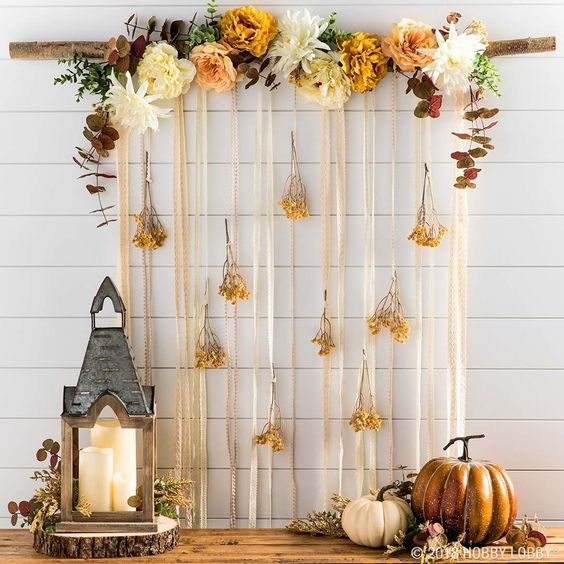 fall baby shower floral hanging