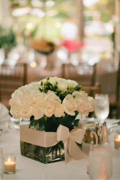 DIY wedding centerpiece hydrangeas, roses, ribbon