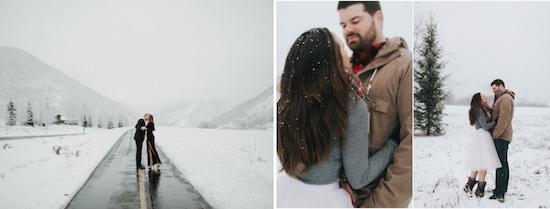 elegant winter engagement photo shoot