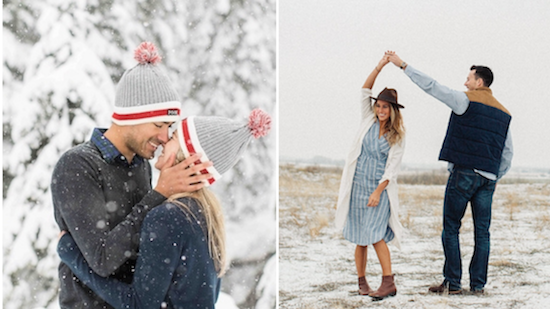 wear a hat to your winter engagement shoot
