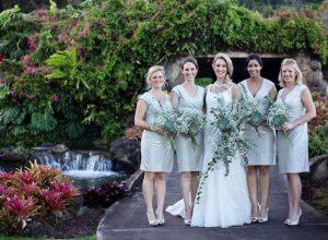 DIY bridal bouquets greenery Hawaii wedding