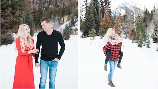 Take your winter engagement photos from casual to formal with a simple outfit change!