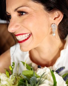 "Sarah wore her grandmother's diamond earrings for her ""something old"" and ""something borrowed!"""