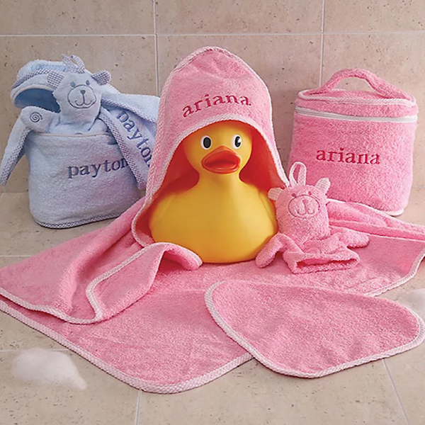 14 Personalized & Sentimental Baby Gifts   Terry Cloth Bath Time Set