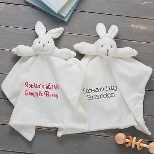 14 Personalized & Sentimental Baby Gifts   Embroidered Plush Bunny Blanket