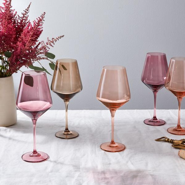 Hand-Blown Colored Wine Glasses