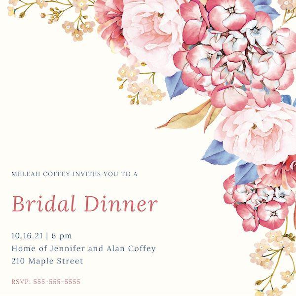 Bridal Dinner Invitation
